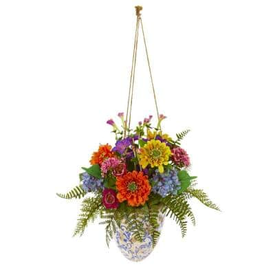 29 in. Mixed Flowers Artificial Plant in Hanging Vase