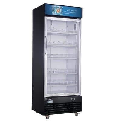 14.7 cu. ft. Commercial Single Glass Swing Door Merchandiser Refrigerator in Black