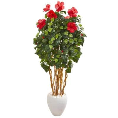 63 in. Hibiscus Artificial Tree in White Planter