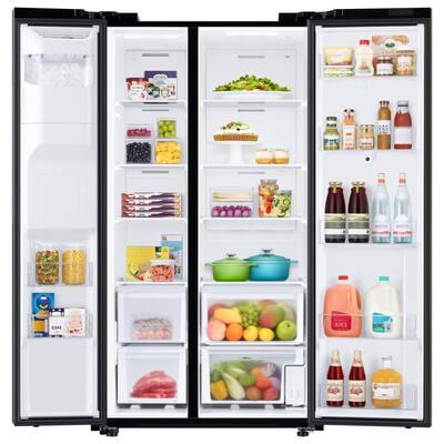 26.7 cu. ft. Family Hub Side by Side Smart Refrigerator in Fingerprint Resistant Black Stainless Steel