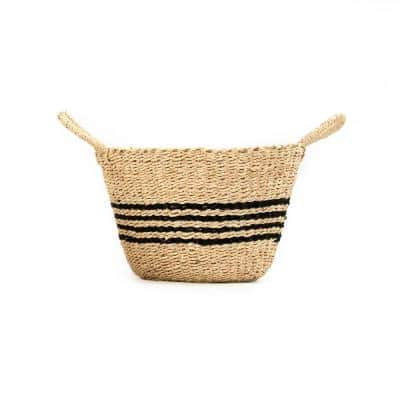 Hand Woven Seagrass and Palm Leaf with Dark Stripes and Handles Medium Basket