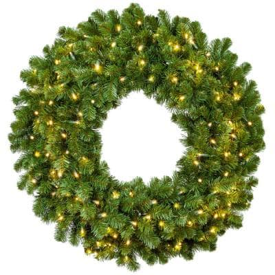 Sequoia Fir 60 in. Pre-Lit Artificial Commercial Wreath with 400 Warm White LED Lights