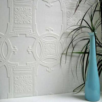 Early Victorian Paintable Textured Vinyl White & Off-White Wallpaper Sample