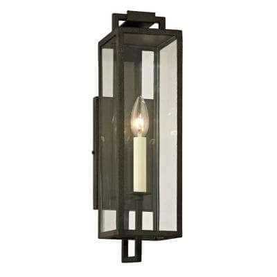 Beckham 1-Light Forged Iron 16.5 in. H Outdoor Wall Lantern Sconce with Clear Glass