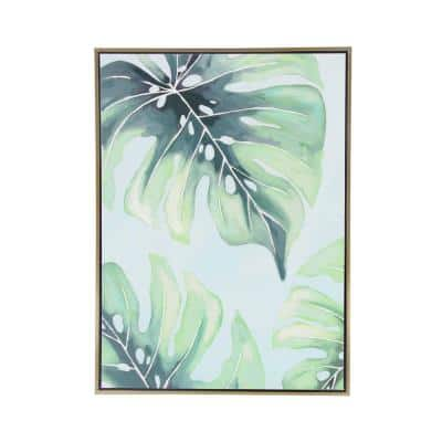 """""""Palm Leaves"""" Hand Painted Framed Canvas Wall Art"""