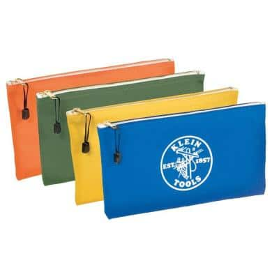 Zipper Bags, Canvas Tool Pouches Olive/Orange/Blue/Yellow, 4-Pack