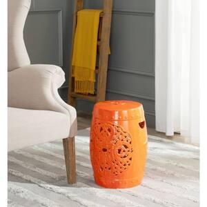 Flora Orange Ceramic Garden Stool