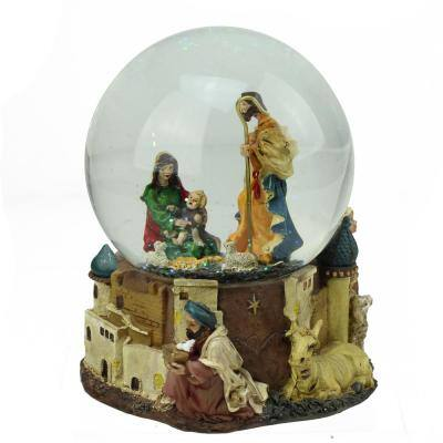 5.5 in. Christmas Nativity Scene Religious Inspirational Musical Snow Globe Glitterdome