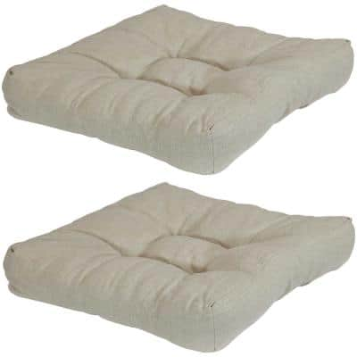 20 in. x 20 in. Beige Square Tufted Outdoor Seat Cushions (Set of 2)