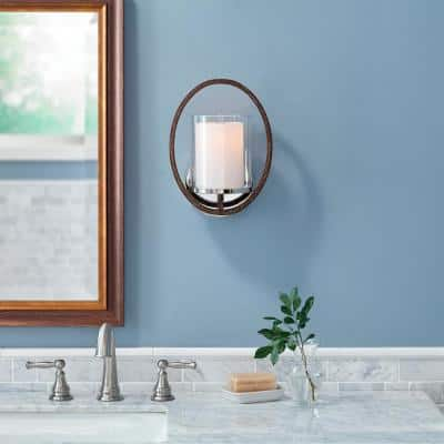 Downing 1-Light Polished Nickel/Corona Bronze Wall Sconce