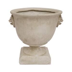 Simba 12.75 in. Antique White Concrete Urn Planter