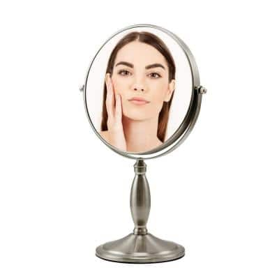 13.39 in. x 4.88 in. Modern Round Framed Nickel Brushed Tabletop Vanity Mirror, Dual-Sided 1x 7x Magnifications