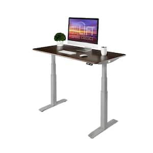 54 in. Rectangular Walnut/Gray Standing Desks with Adjustable Height