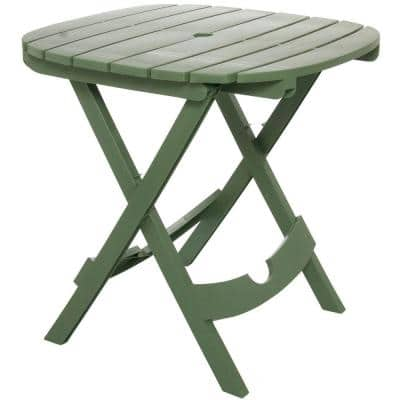 Quik-Fold Sage Resin Plastic Outdoor Cafe Table