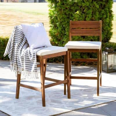 Dark Brown Acacia Wood Patio Outdoor Bar Stools with White Cushions (2-pack)