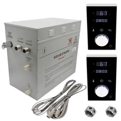 Superior 12kW Deluxe Self-Draining Steam Bath Generator 2 Digital Programmable Controls in Black, 2 Chrome Steam Outlets
