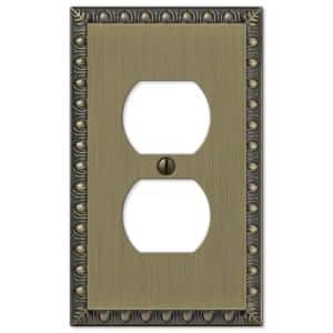 Antiquity 1 Gang Duplex Metal Wall Plate - Brushed Brass
