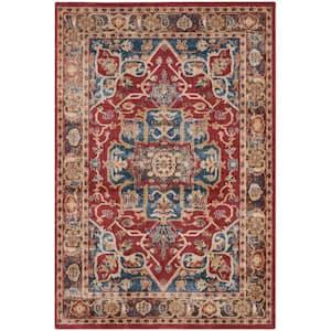 Bijar Red/Royal 9 ft. x 12 ft. Border Floral Medallion Area Rug