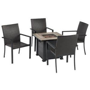 5-Piece Wicker Patio Conversation Seating Set with Fire Pit