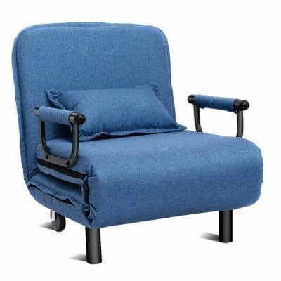 25 in. Width Big and Tall Blue Polyester Convertible Ergonomic Recliner