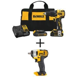 ATOMIC 20-Volt MAX Brushless Cordless Compact 1/2 in. Hammer Drill w/ 20-Volt 3/8 in. Hog Ring Impact Wrench(Tool-Only)