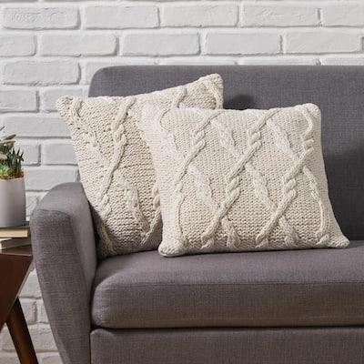Bernard Beige Geometric Cotton 18 in. x 18 in. Throw Pillow (Set of 2)