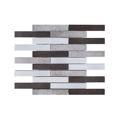 Volcanic Ridge 11.875 in. x 11.875 in. Basalt Mosaic Tile
