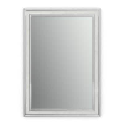 33 in. W x 47 in. H (L1) Framed Rectangular Standard Glass Bathroom Vanity Mirror in Chrome and Linen