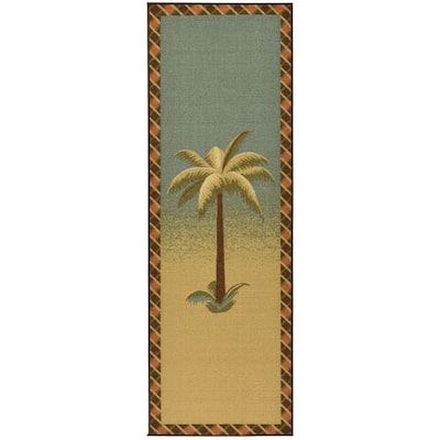 Sara's Kitchen Collection Palm Tree Design Sage 1 ft. 8 in. x 4 ft. 11 in. Kitchen Runner