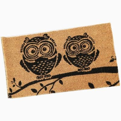 PVC and Coir Doormat - Wide-Eyed Owls