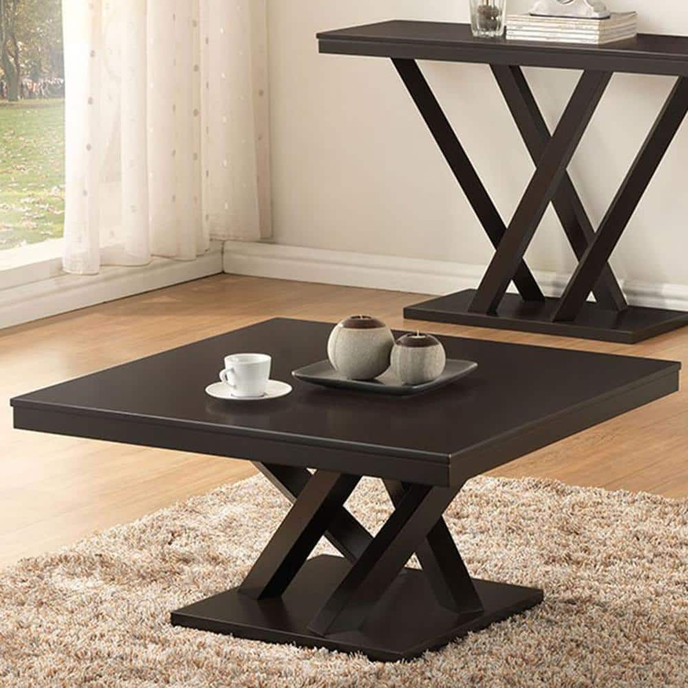 Baxton Studio Everdon 36 In Dark Brown Medium Square Wood Coffee Table With Pedestal Base 28862 4968 Hd The Home Depot