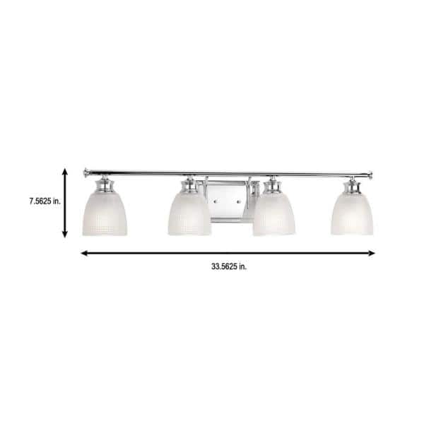Progress Lighting Lucky Collection 33 56 In 4 Light Polished Chrome Bathroom Vanity Light With Glass Shades P2182 15di The Home Depot