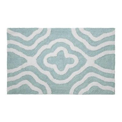Reversible Cotton Soft Giri Aquatic Blue 21 in. x 34 in. Bath Mat