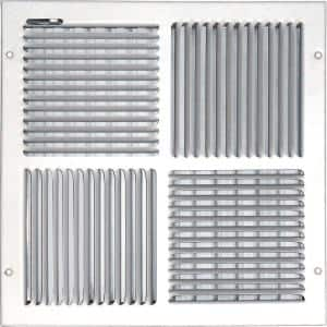 14 in. x 14 in. Ceiling/Sidewall Vent Register, White with 4-Way Deflection