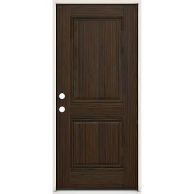 36 in. x 80 in. 2 Panel Right-Handed Square Black Cherry Fiberglass Prehung Front Door