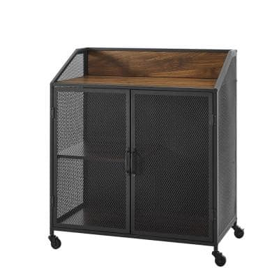 33 in. Dark Walnut Industrial Bar Cabinet with Mesh