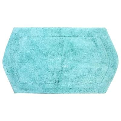 Waterford Collection Turquoise 21 in. x 34 in. Cotton Bath Rug