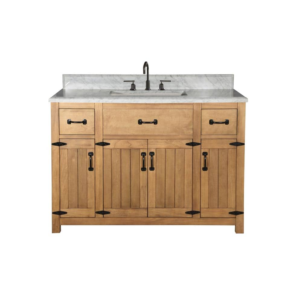 49 In W X 22 In D X 38 In H Bath Vanity In Weathered Light Brown With Ceramic Vanity Top In White With White Basin Wlf6044 48 The Home Depot