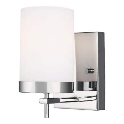 Zire 4.375 in. W 1-Light Chrome Vanity Light with Etched White Glass Shade