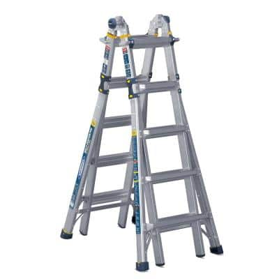 22 ft. Reach Aluminum 5-in-1 Multi-Position Pro Ladder with Powerlite Rails 375 lbs. Load Capacity Type IAA Duty