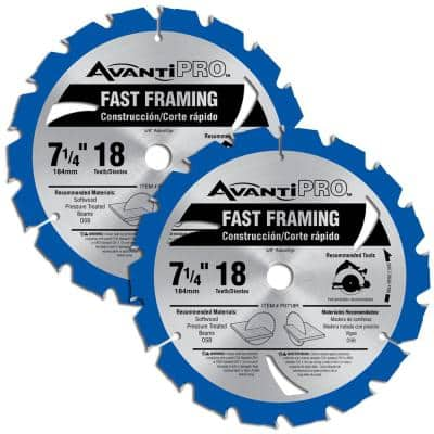 7-1/4 in. x 18-Teeth Fast Framing Saw Blades (2-Pack)