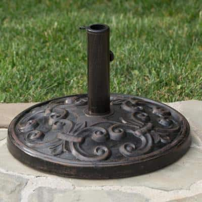 Cedric 26.5 lbs. Resin and Steel Patio Umbrella Base in Bronze