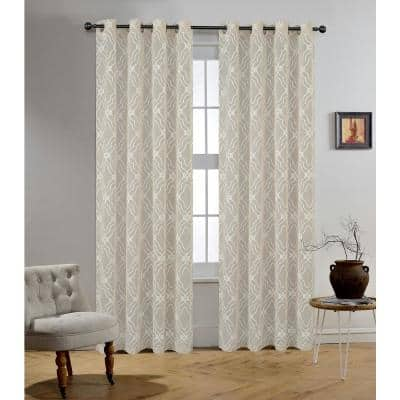 Adelaide 95 in.L x 54 in. W Sheer Polyester Curtain in Oyster