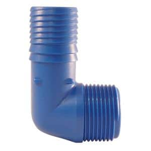 1 in. Polypropylene Blue Twister Insert 90-Degree x MPT Elbow