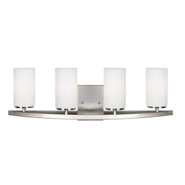 Sea Gull Lighting Visalia 28 25 In W 4 Light Brushed Nickel Bathroom Vanity Light With White Etched Glass Shades 4825904 962 The Home Depot