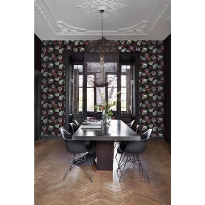 Contessa Ruby Flowers Wallpaper Sample
