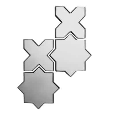 Reflections Silver Celestial Mosaic 6 in. x 6 in. Glass Mirror Mesh Mounted Wall Tile (0.51 Sq. ft.)