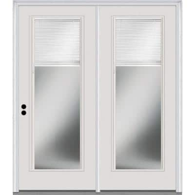TRUfit 71.5 in. x 79.5 in. Right-Hand Internal Blinds Dual Pane Clear Low-E Glass Primed Steel Double Prehung Patio Door