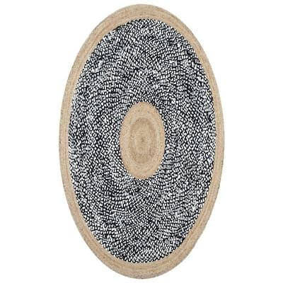 Lesha Natural Fiber Jute Black 3 ft. x 5 ft. Oval Rug