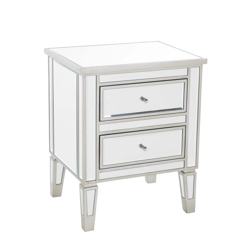 Noble House Craferd Mirror Silver 2 Drawer Accent Table 7211 The Home Depot
